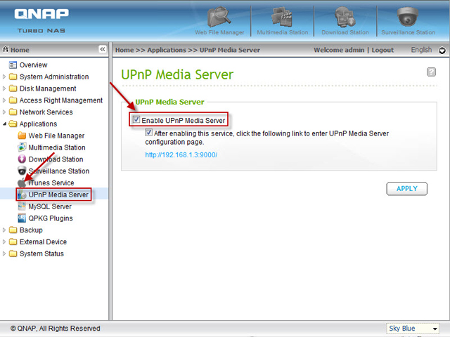 Enable UPnP media server on QNAP