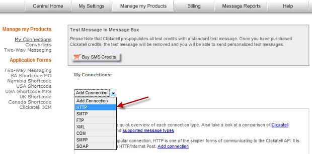 Setup 'My connection' to use 'HTTP' option