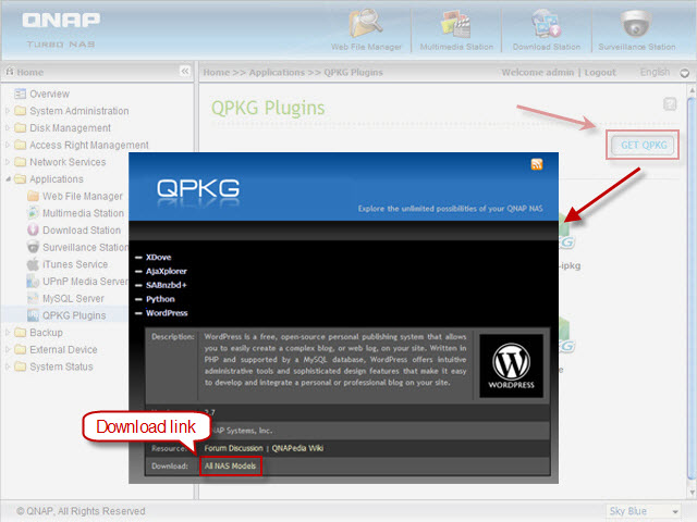 Download WordPress QPKG