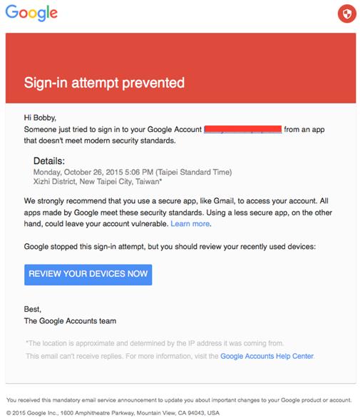 Google mail account error