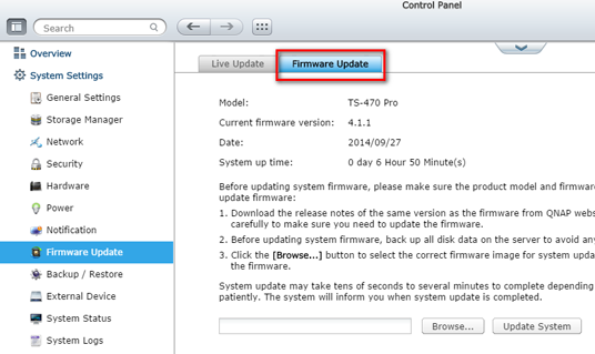 qnap firmware upgrade cannot be performed