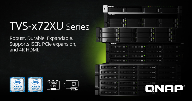 QNAP Announces Rackmount TVS-x72XU NAS Series with 8th-Gen