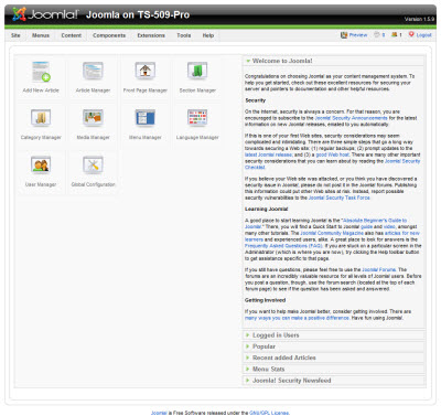 Joomla administration log in