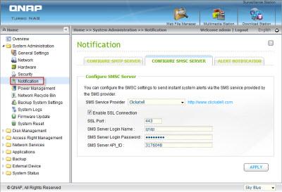 Configure the SMSC server