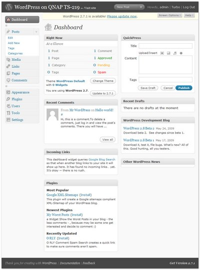Dashboard of WordPress