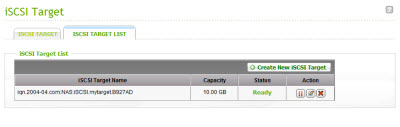 iSCSI target created successfully