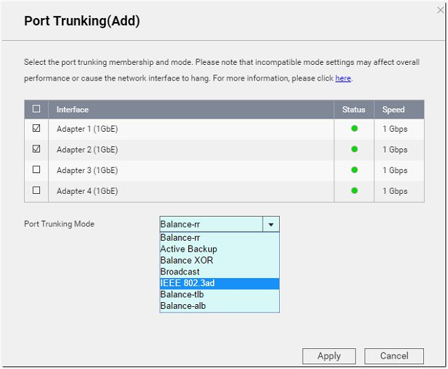 Set Port Trunking on your QNAP NAS to increase the bandwidth via