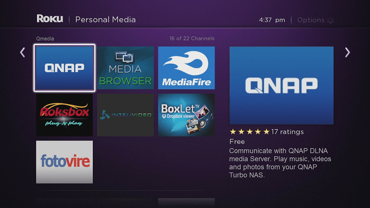 How to play media files on a QNAP NAS with Roku channel
