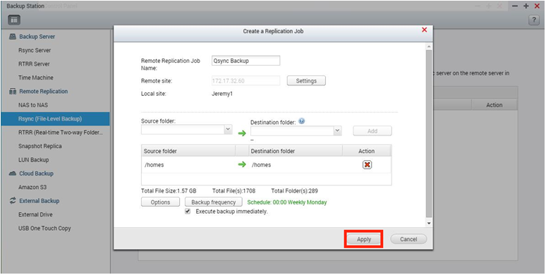 How to back up Qsync files and documents to other QNAP NAS