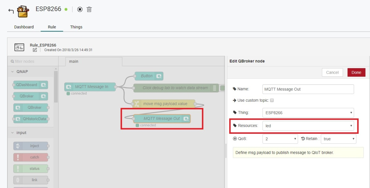 How to use an ESP8266 to connect to QNAP QIoT Suite Lite