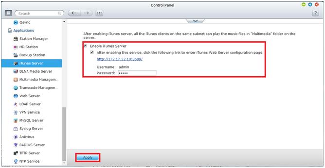 Enable iTunes service on QNAP