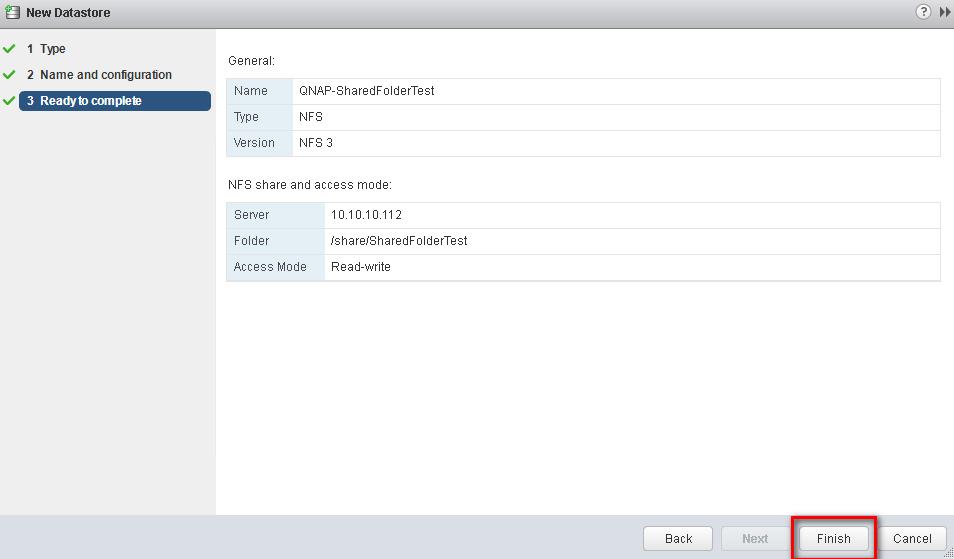 Set up a VMware ESXi Datastore via NFS in QNAP Enterprise