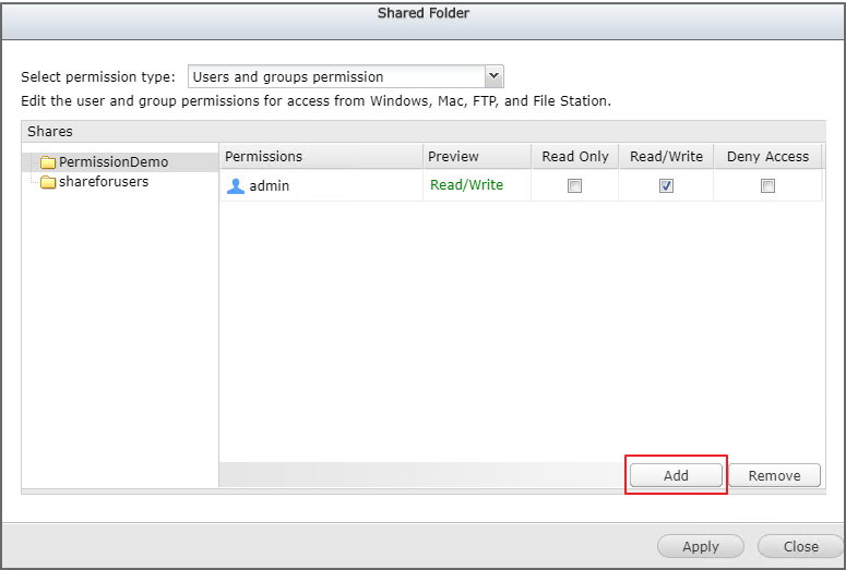 Configuring Microsoft Windows Shared Folder Permissions in