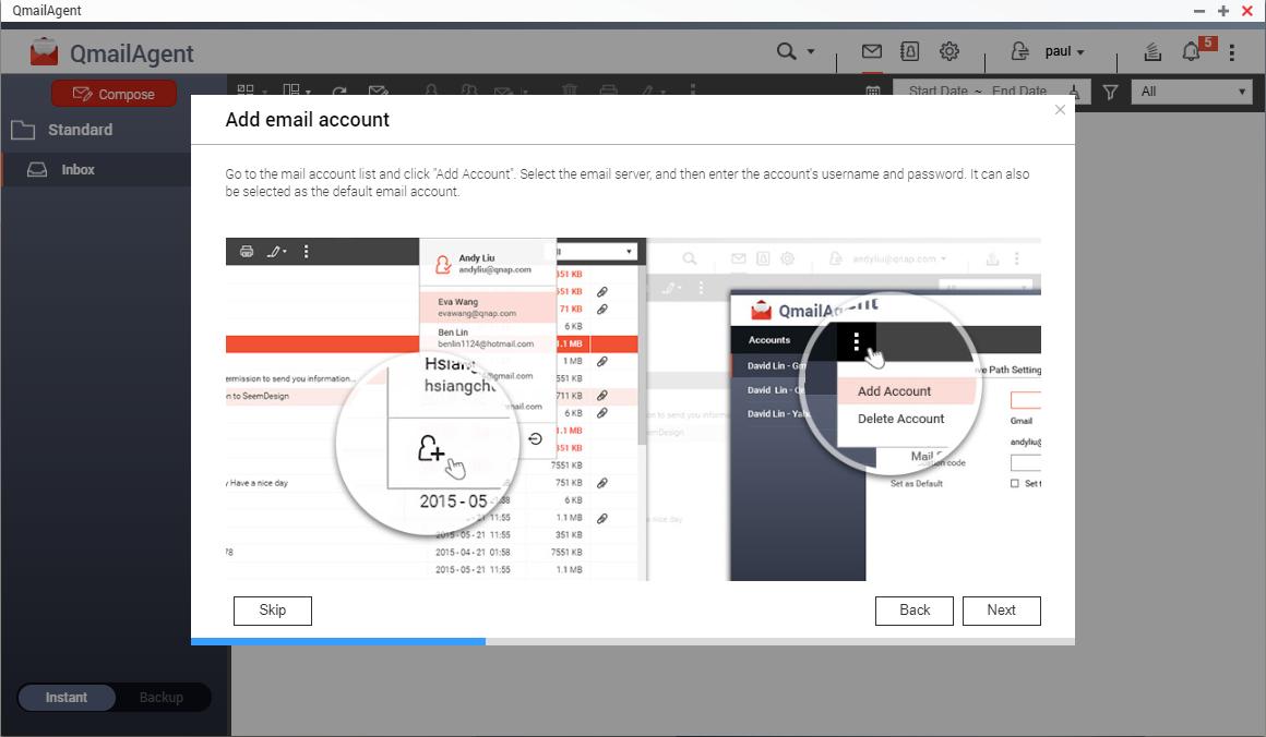 Het beheren van e-mailaccounts met behulp van QmailAgent op