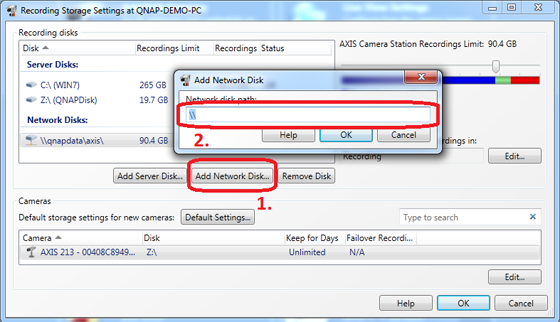 How to record video files to QNAP Turbo NAS from AXIS IP