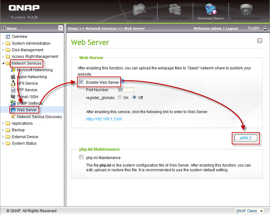 administration page and then go to 'Network Services' > 'Web Server'.