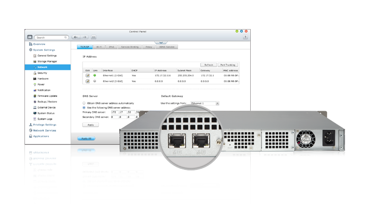 QNAP High efficiency with dual LAN support