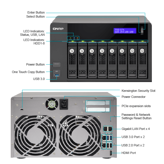 QNAP TVS-871-i3 4GB 18TB (6 X 3TB) 8-BAY NAS INTEGRATED WITH HGST ULTRASTAR  DRIVES