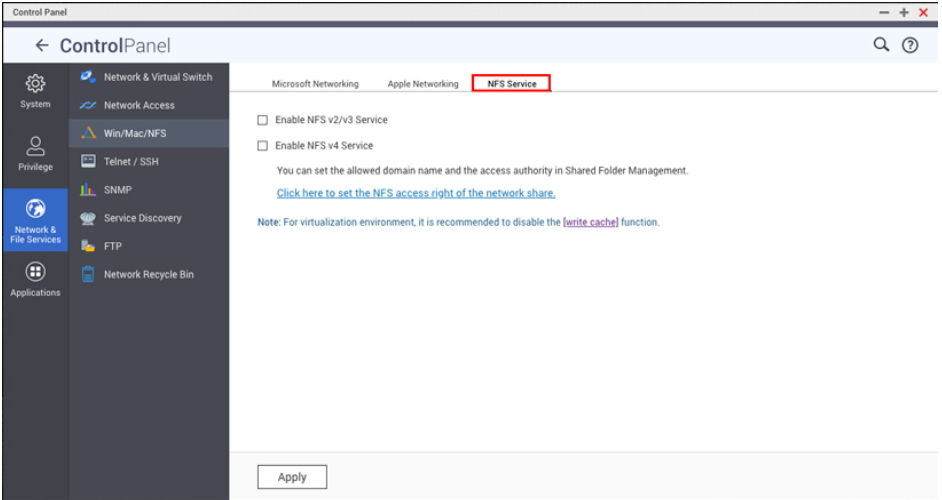 How to enable and setup host access for NFS connection   QNAP